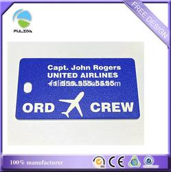 pvc plastic united airlines crew luggage tag