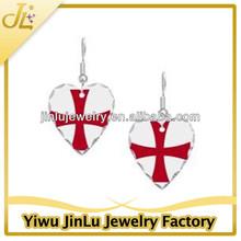 Fashion white and red cross heart shaped dangle earrings