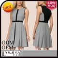 2015 primavera vestidos das mulheres cinza de algodão vestido de noite curto teen