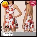 señoras vestido de occidental diseños floral hawai corto vestido de estilo