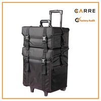2 in 1 professional beauty cosmetic hairdressing soft sided nylon makeup trolley case
