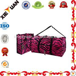 "Overnight Travel Luggage 22"" Zebra Black Pink Duffel and Tote Bag Set"