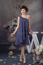 Western Style One Shoulder Short Puffy Chiffon Party Dress Free Shipping Sexy Crystal Cheap Prom Dresses 41008