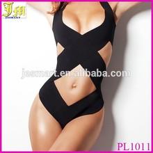 2015 Hot Sex Black Bandage Strappy Bikini Sexy One Piece Swimwear Women Swimsuit Bathing Suit Front Wrap XL
