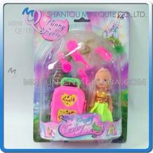 Mini Qute 10 cm beautiful American Latex kid girls fashion Plastic doll decoration with Luggage educational toy NO.YS0706-3