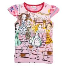 (K3870) pink girls fancy t shirt 100% cotton eco-friendly baby kids summer cartoon t shirt
