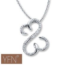 Pure Silver Double Open Hearts Pendant Necklace Diamonds with White Gold Plated