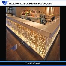 Fancy style l shape LED home modern bar counter design