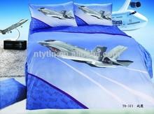 aircraft pattern child 205TC 100% satin cotton cartoon comforter sets 4pcs set