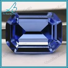 Octagon cut glass gems blue semi precious stone