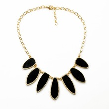 Women Jewelry Brand Dot Style Inspired Crystal with Black White Epoxy Stone & Gold Statement Allegra Necklace