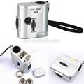 60x mini microscópio lupa lupa lupa com 2-led iluminação com dinheiro de detecção de luz uv