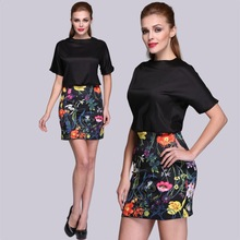 Women Chiffon Floral Printed Lace Top Chiffon Evening Dress with Half Sleeves SV014725