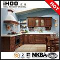 الصين مورد الخشب المنحوت الأحمرالبلوط الأمريكية المطبخ خزائن الحائط مع الأبواب الزجاجية