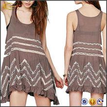 OEM wholesale Fashion Women's Sleeveless scoop neck Polka Dot Lace Asymmetrical Sundress casual dresses china alibaba