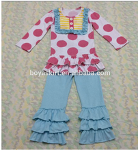 Comfortable Wear 100% Cotton polka dots top And Blank Triple Ruffle Pant Clothing Suppliers For Boutiques Baby Clothing Sets