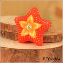 Fashion Resin Cabochons red Star Resin Cabochons For Cell Phone Decoration RES-1184Big Bow Flatback Resin