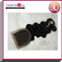 2015 hot sale free shipping body wave 100%peruvian virgin hair lace closure