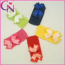 European And American Fashion Crochet Headband With Hair Bows For Girls (CNHB-13082810)