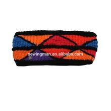 Cold Weather Headband Acrylic Knitted Headband With Lining Polar Fleece