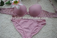Women's Plain-dyed Bra and Panties Set With Elastic Lace