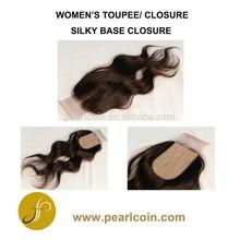 Human Hair Chinese Indian Natural Hair Straight Curly Wavy Handtied Silky Closure