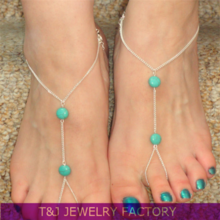 2015 fashion Shoe Jewelry Chains Ankle Chain Jewelry Costume Accessories Turquoise Gold body Chain TJ5039