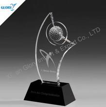 clear golf crystal awards black base AK500