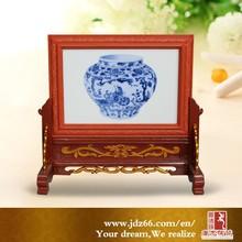 Popular design hand painted ceramic desk calendar home decoration for hot sale