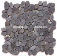 Black color irregular pebble stone floor mat on sale