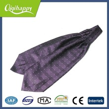 Purple with white small dots fashion silk ascot necktie for sale