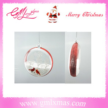 Christmas decoration items unique flat glass ball ornament,christmas hanging flat glass ball,xmas clear flat ball with snow