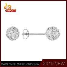 Ball shaped CZ studs fashion earring, crystal earring