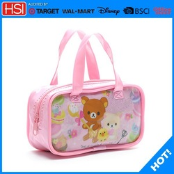 pink cute cubs hanging cosmetic bag with clear compartments ,makeup bag ,professional makeup bag