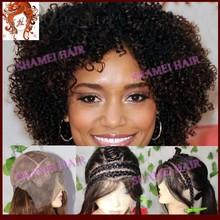 2015 Popular New Design Silk Top Short Afro Kinky Lace Human Hair Wigs