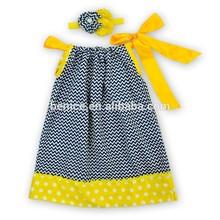 Fashion design small kids print spot pillowcase and headband set children sleeveless princess girls dress