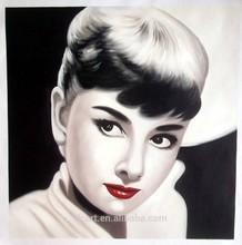 Popular modern portrait of audrey hepburn canvas painting wholesale