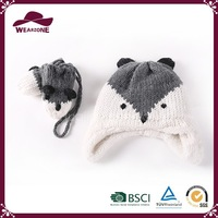Animal children hat and mitten set