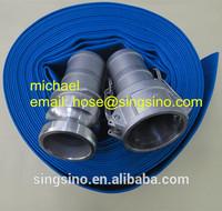 PVC Layflat Hose With Camlock Couplings C E / Discharge Hose Assembly 4Bar 6Bar