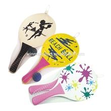 2015 New beach game play,mini wooden beach tennis paddle racket set,beach paddle ball set