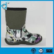 Waterproof Warming Camo Printed Neoprene Rain Boots Men with Heel Loop