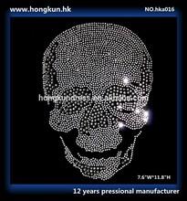 Skull Design uses Environmental protection RHINESTONE HOT FIX for T-Shirt