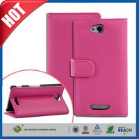 C&T Fashion PU leather case standing with card holder folio flip cover for sony xperia c s39h