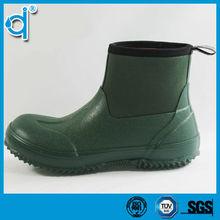 Waterproof Warming Dark Blue Neoprene Rain Boots Women with Heel Loop