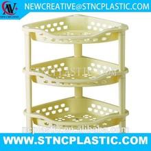 3 tier plastic decorative corner storage shelf