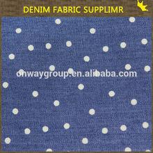 ONWAY042 wholesale new design 4.5OZ 100cotton dot printed denim fabricfor Tshirt,dress,garment,shoes,bags,for pant