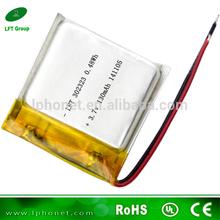 302323 li polymer battery 3.7v 130mah lipo battery for camera pen