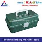 Hardware plastic tool box transparent lid army green