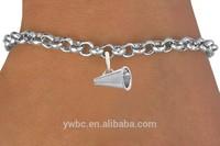 Zinc alloy antique silver megaphone shape charm link chain bracelets nickle and lead free