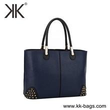 Latest design stock designer leather bags for promotion designer brand handbags brand name women tote stock handbags with rivet